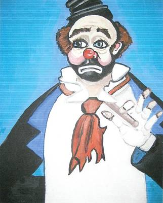 Poster featuring the painting Clown by Nora Shepley