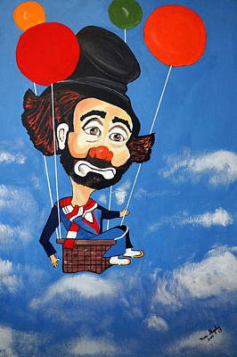 Poster featuring the painting Clown Up Up And Away by Nora Shepley