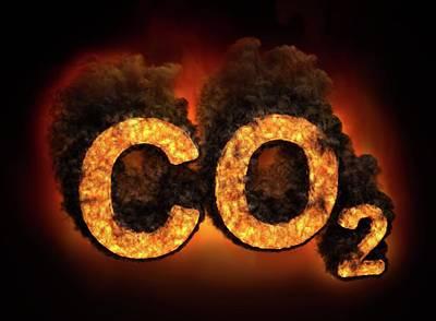 Co2 Symbol Burning Poster by Andrzej Wojcicki