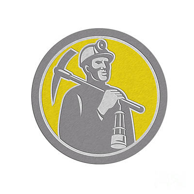 Coal Miner Hardhat With Pick Axe Lamp Front Circle Poster