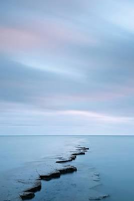 Coastal Rock Ledge At High Tide Poster by Jeremy Walker