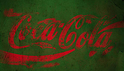 Coca Cola Grunge Red Green Poster