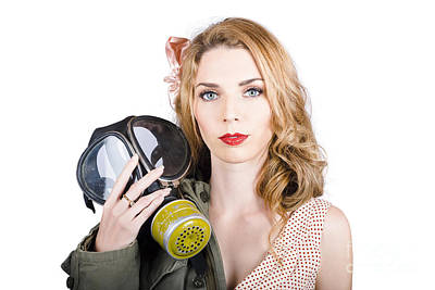Cold War Pin-up Woman With Gasmask Poster