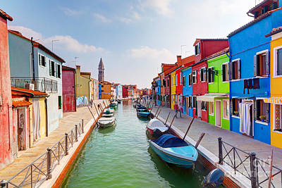 Colorful Houses And Canal On Burano Island Near Venice Italy Poster
