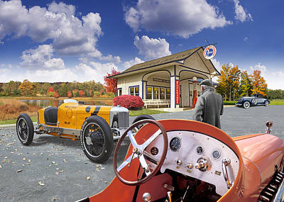 Poster featuring the digital art Colors Of Autumn Vintage Standard Oil Station by Ed Dooley