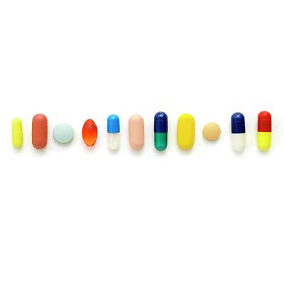 Coloured Capsules And Tablets Poster