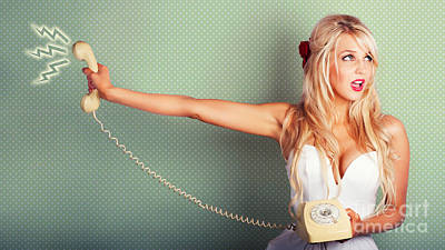 Comic Portrait Of A Blond Pin-up Girl With Phone Poster