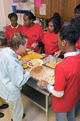 Community Volunteers Serve Food Poster by Jim West