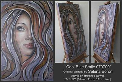 Poster featuring the painting Cool Blue Smile 070709 by Selena Boron