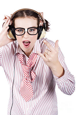 Cool Music Nerd Rocking Out To Metal On Headphones Poster