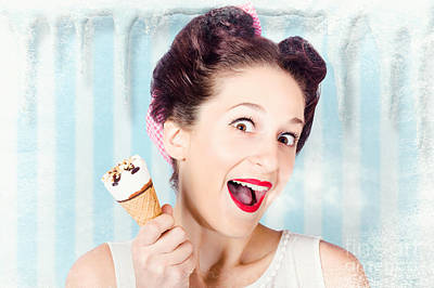 Cool Pin-up Woman In Cold Freezer With Ice-cream Poster