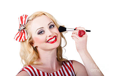 Cosmetics Pin-up Model Applying Blusher Makeup Poster by Jorgo Photography - Wall Art Gallery