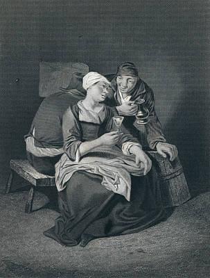 Coulpe, Wine Glass, Jug, Man, Woman, Barrel Poster by Bega, Cornelis Pietersz (1631/1632-1664), Dutch