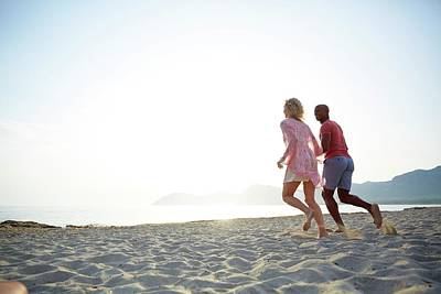 Couple Running On The Beach Poster