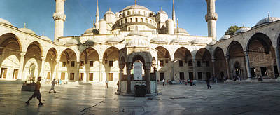 Courtyard Of Blue Mosque In Istanbul Poster by Panoramic Images