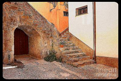 Courtyard Of Old House In The Ancient Village Of Cefalu Poster