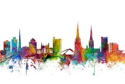 Coventry England Skyline Poster by Michael Tompsett