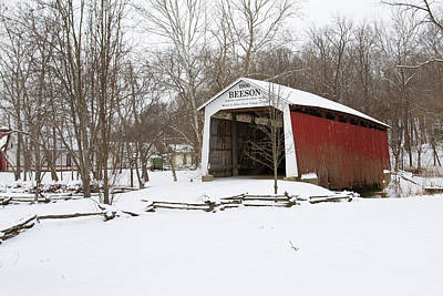 Covered Bridge In Snow Covered Forest Poster by Panoramic Images