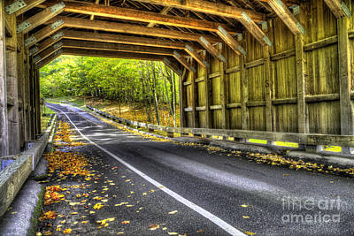 Covered Bridge On Pierce Stocking Scenic Drive Poster by Twenty Two North Photography
