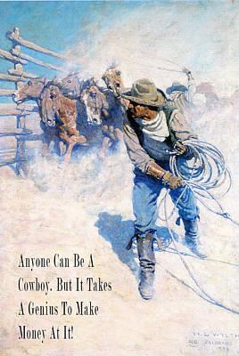 Cowboy Roping Wild Horses Poster by N C Wyeth