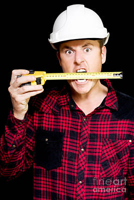 Crazy Builder Biting His Tape Measure Poster by Jorgo Photography - Wall Art Gallery
