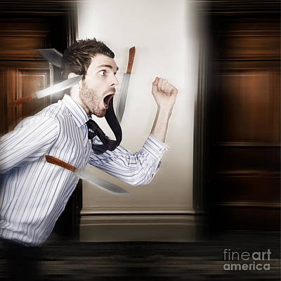 Crazy Businessman Running In Fear From Danger Poster