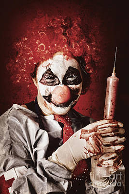 Crazy Medical Clown Holding Oversized Syringe Poster by Jorgo Photography - Wall Art Gallery
