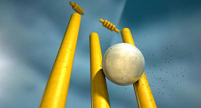 Cricket Ball Hitting Wickets Poster by Allan Swart