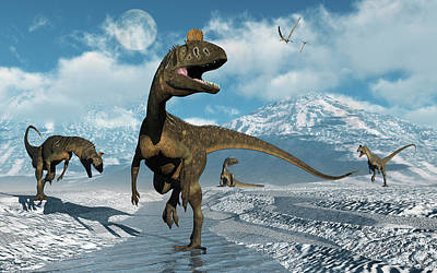 Cryolophosaurus Dinosaurs Roaming Poster by Mark Stevenson
