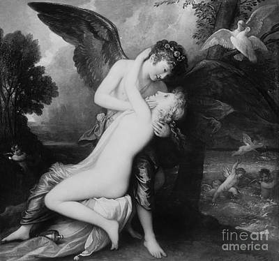 Cupid And Psyche By Benjamin West, 1808 Poster
