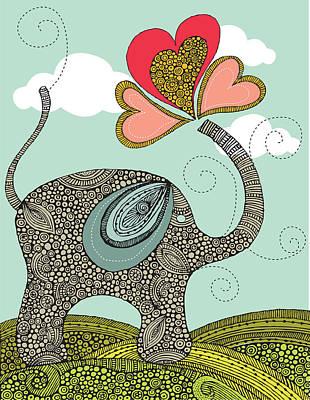 Cute Elephant Poster by Valentina Ramos