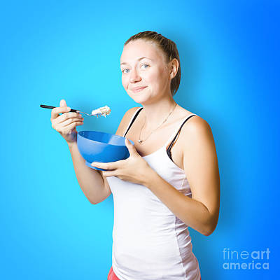 Cute Female Lifestyle Model With Oats And Porridge Poster