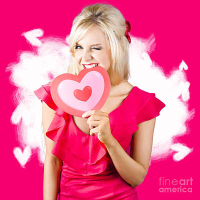 Cute Love Hungry Girl Eating Big Red Heart Poster