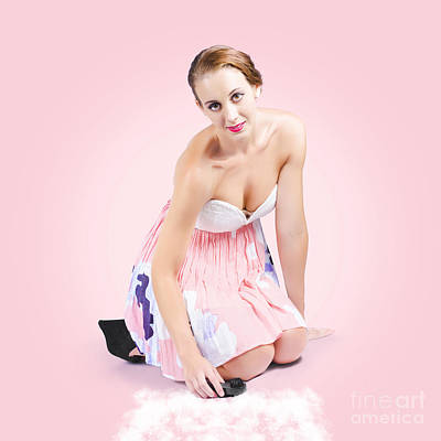 Cute Pin-up Housewife Cleaning Floor By Hand Poster by Jorgo Photography - Wall Art Gallery