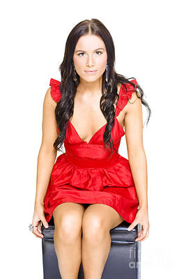 Cute Woman Sitting Thinking And Dreaming In Red Dress Poster by Jorgo Photography - Wall Art Gallery