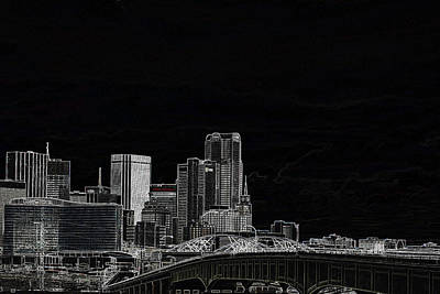 Dallas Skyline In Black - East Poster