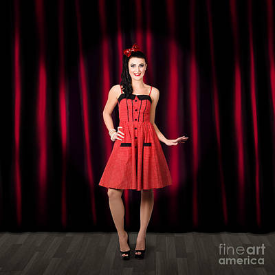 Dancing Woman Wearing Retro Rockabilly Dress  Poster by Jorgo Photography - Wall Art Gallery