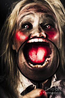 Dark And Scary Horror Face. Evil Laugh Poster