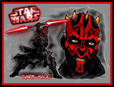 Poster featuring the drawing Darth Maul - Sith Lord by Chris  DelVecchio