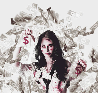 Dead Business Woman In Financial Crisis Debt Poster
