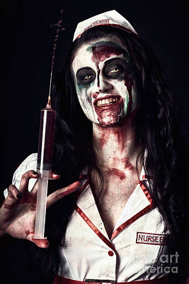 Dead Nurse Taking Blood Donation With Syringe Poster by Jorgo Photography - Wall Art Gallery