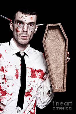 Dead Zombie Business Man Holding Funeral Coffin Poster