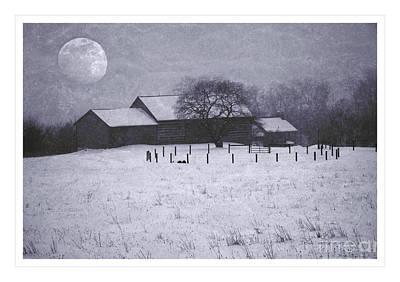 December Moonrise Farmstead Poster by John Stephens
