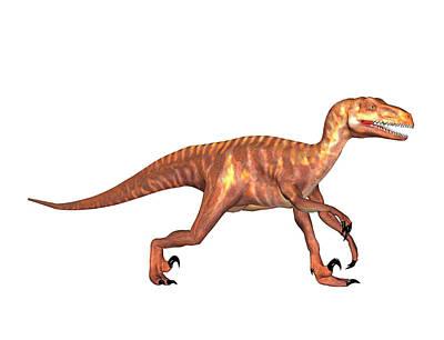 Deinonychus Dinosaur Poster by Friedrich Saurer