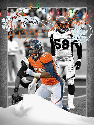 Denver Broncos Christmas Card Poster by Joe Hamilton