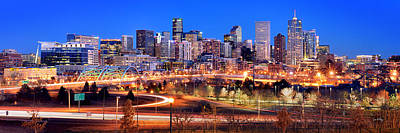 Poster featuring the photograph Denver Skyline At Dusk Evening Color Evening Panorama Broncos Colorado  by Jon Holiday