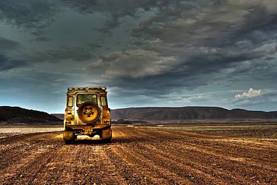 Land Rover Defender On Dirt Road Dusk Poster by Jan Van der Westhuizen