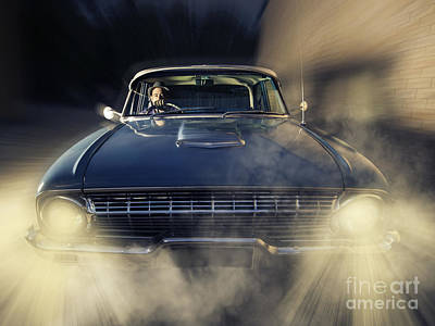 Detective Man Driving Old Classic Car At Pace Poster