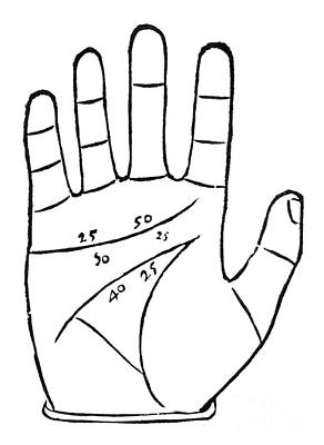 Diagram Used In Palmistry, 16th Century Poster by Middle Temple Library