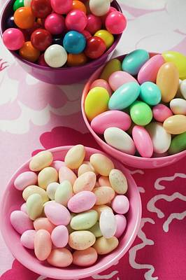 Different Kinds Of Sweets And Bubble Gum Balls In Bowls Poster